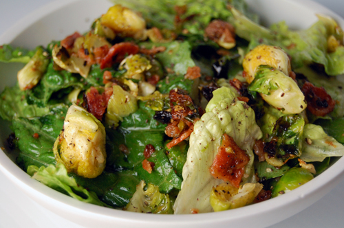 Brussels Sprouts Salad w/ Warm Bacon Vinaigrette