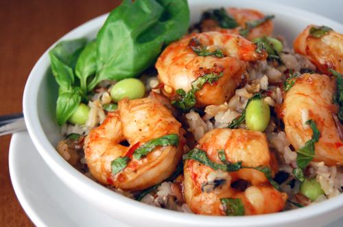 Chili Basil Shrimp w/ Edamame Rice