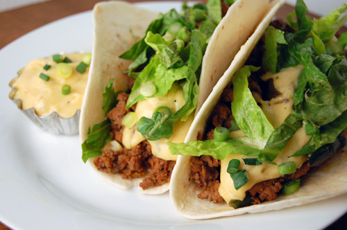 Chorizo, Poblano & Beef Tacos w/ Pepper Jack Cheese Sauce