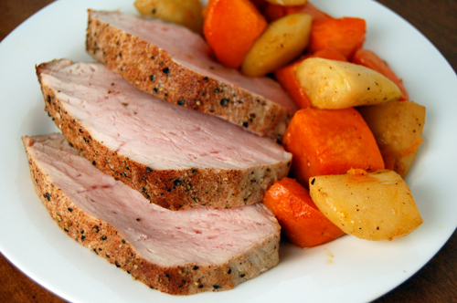Glazed Pork Tenderloin w/ Caramelized Pears & Sweet Potatoes