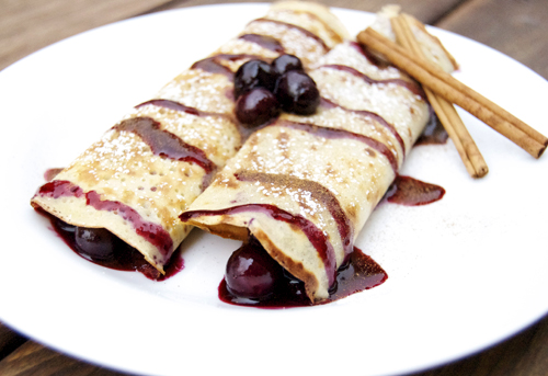 Cinnamon Crepes w/ Blueberry Compote