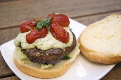 Feta-Basil Bison Burgers