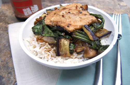 Grilled Eggplant & Bok Choy w/ Korean BBQ Sauce