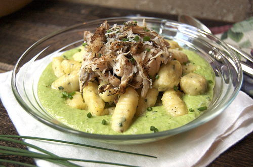 Potato Gnocchi w/ Jerk Chicken on Sweet Pea Puree–My Chef Dennis Guest Post!