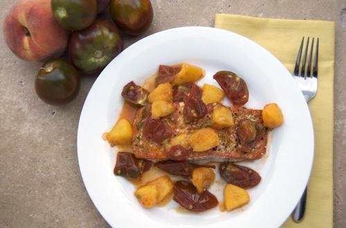 Salmon w/ Peach & Tomato Compote