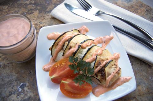 Zucchini Wrapped Mahi Mahi w/ Tomato Aioli