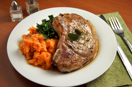 Brown Butter Balsamic Pork w/ Sweet Potatoes & Kale