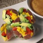 Ahi Tuna Mango Summer Rolls w/ Coconut-Ginger Dipping Sauce