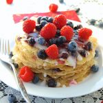 Eggless Crepe Cake w/ Berry Compote